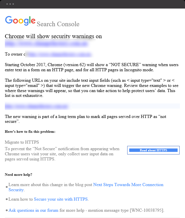 Google Chrome's 'Not Secure' warning for HTTP sites  | August