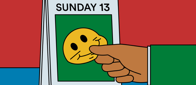 cartoon of a calendar with a hand taking a smile face