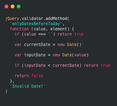 Adding a validator to JQuery Validate for dates.