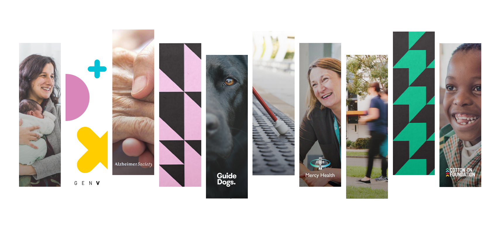 Montage of images of people smiling and Guide Dogs.